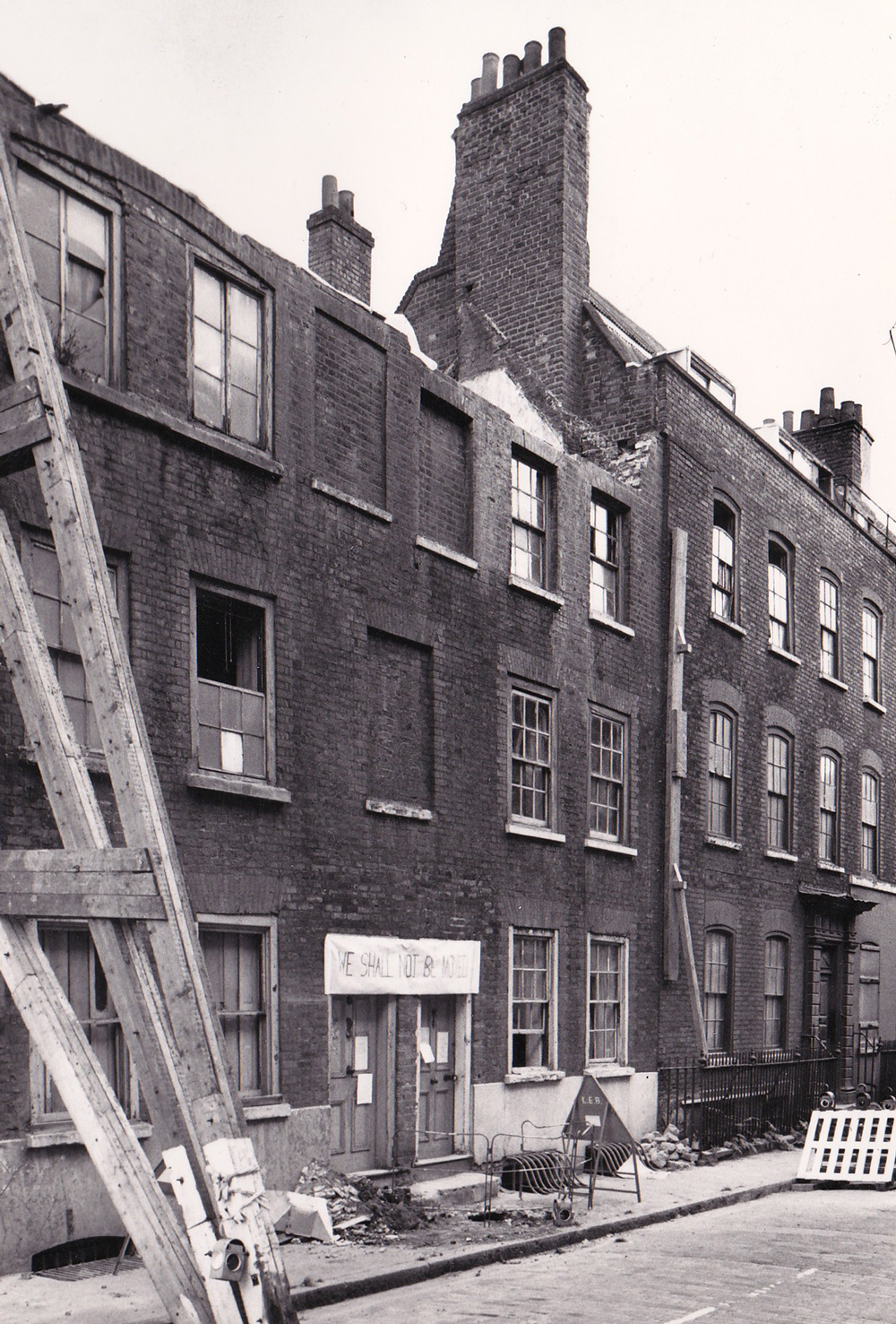 5 and 7 Elder Street, roofless and squatted by the Trust